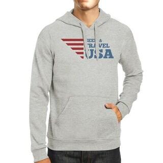 Seek & Travel USA Unisex Graphic Hoodie Gray Round Neck Fleece Top