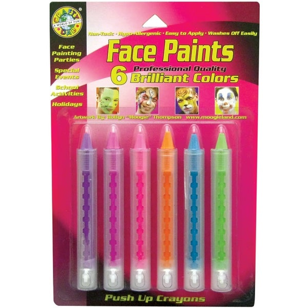 Face Paint Push-Up Crayons 6/Pkg-Brilliant