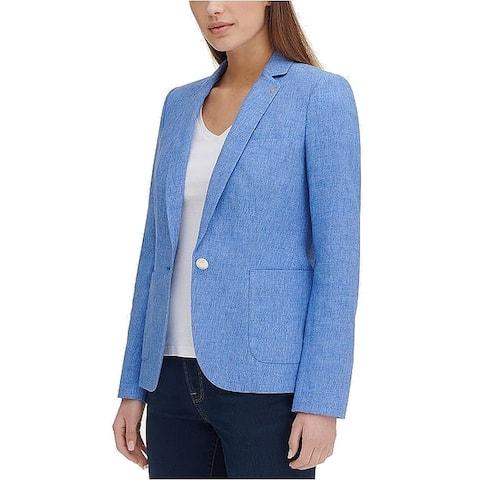 Tommy Hilfiger Women's Blue Size 14 One Button Notch Collar Blazer
