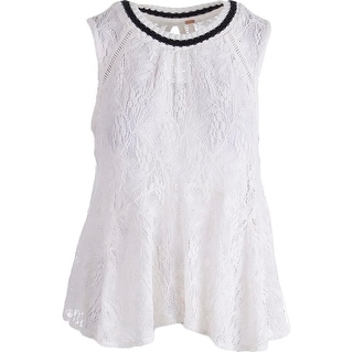 Free People Womens Lace Ribbed Collar Tank Top - M