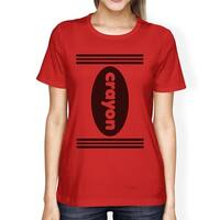 Crayon Womens Red Graphic Tee Round Neck Halloween Costume Shirts