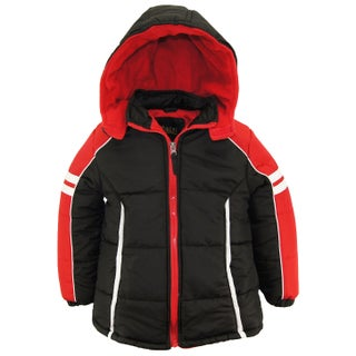 iXtreme Toddler Boys Colorblock Active Hooded Winter Puffer Jacket Coat (Option: Black - 2T)