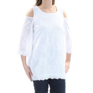 ALFANI $90 Womens New 1145 White Floral Lace Cold Shoulder Bell Sleeve Top M B+B
