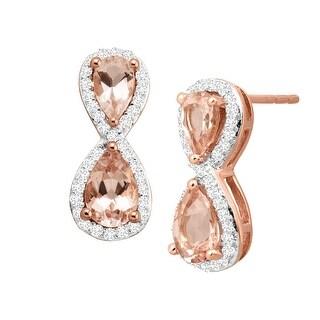 1 ct Natural Morganite & 1 ct Diamond Figure Eight Stud Earrings in 10K Rose Gold
