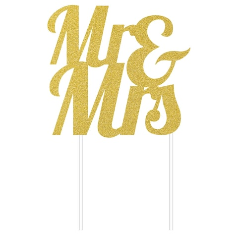"Club Pack of 12 Glittered Gold MR & MRS"" Decorating Cake Dessert Toppers 9.5"""" """