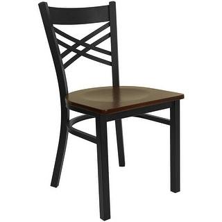 Dyersburg Black ''X'' Style Back Metal Restaurant/Pub/Bar Chair, Mahogany Wood Seat