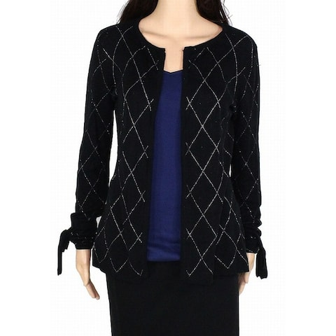 Belldini Women Sweater Black Size Small S Cardigan Argyle Print Shimmer