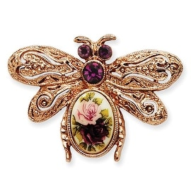 Rosetone Purple Crystal and Rose Floral Decal Bee Pin