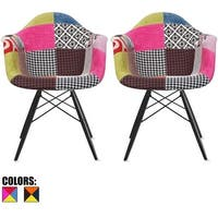 2xhome - Set of 2 Plastic Chair Dining Chairs Fabric Patchwork Wood Multi-color Black Wood Leg Home