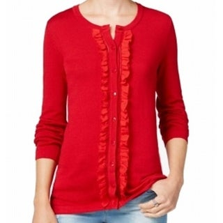 Tommy Hilfiger NEW Red Women's Large L Ruffle Trim Cardigan Sweater