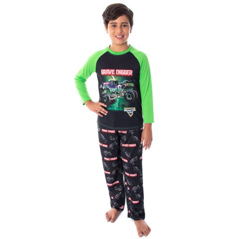 Monster Jam Boys' Grave Digger Monster Truck Raglan Shirt And Pants 2 Piece Pajama Set
