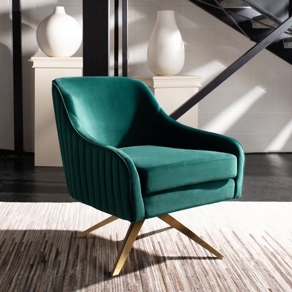 """SAFAVIEH Couture Leyla Channeled Velvet Accent Chair - 28.2"""" W x 29.9"""" L x 31.6"""" H. Opens flyout."""
