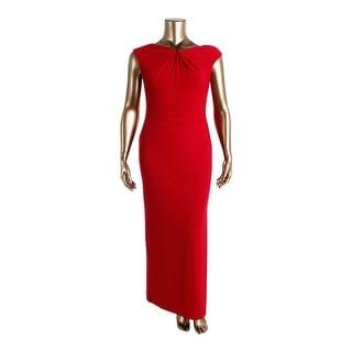 Lauren Ralph Lauren Womens Petites Knot Front Ruched Evening Dress