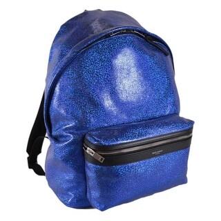 Saint Laurent YSL 435988 Metallic Glitter Blue City Hunt Backpack Purse Bag