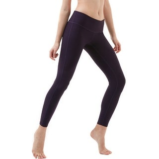 Tesla FYP41 Women's Mid-Waist Ultra-Stretch Yoga Pants - Solid Dark Violet