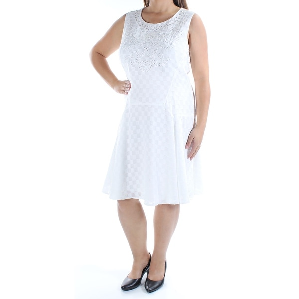 667fd1bfd69fc Shop TOMMY HILFIGER Womens White Eyelet Sleeveless Jewel Neck Below The  Knee Fit + Flare Dress Size: 16 - Free Shipping On Orders Over $45 -  Overstock - ...