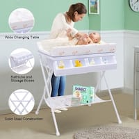 Costway Infant Baby Bath Changing Table Diaper Station Nursery Organizer Storage w Tube - White