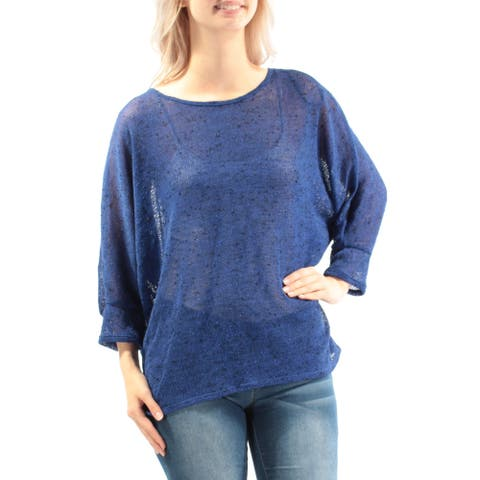 ALFANI Womens Blue Dolman Sleeve Jewel Neck Top Size S