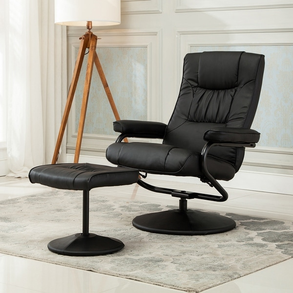 shop belleze modern contemporary black bonded leather soft recliner