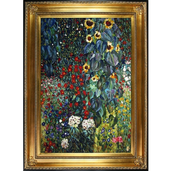Farm Garden with Sunflowers by Gustav Klimt Framed Hand Painted Oil on Canvas