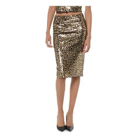 MICHAEL KORS Gold Midi Pencil Skirt Size L