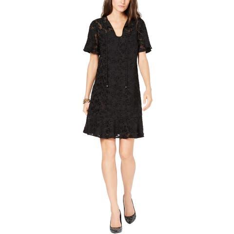 MICHAEL Michael Kors Womens Mesh Burnout Tie-Neck Shift Dress Medium Black