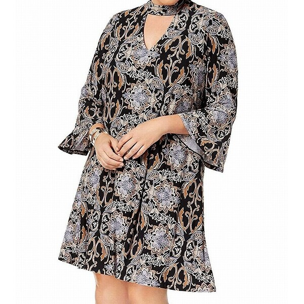 f09178ccf06bb Shop Jessica Howard Black Womens Size 18W Plus Damask Print A-Line ...