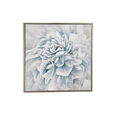 """39.5"""" Large Square Blue and White Peony Flower Acrylic Painting in Silver Frame"""
