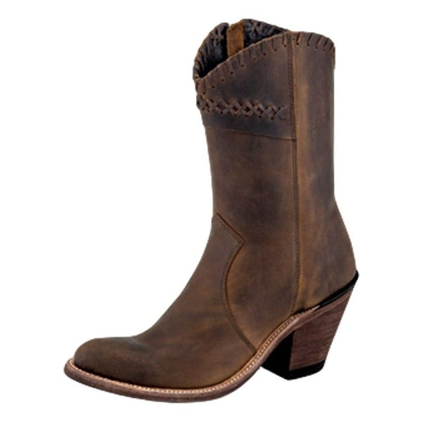 Old West Fashion Boots Womens Goodyear High Leather Lined Brown