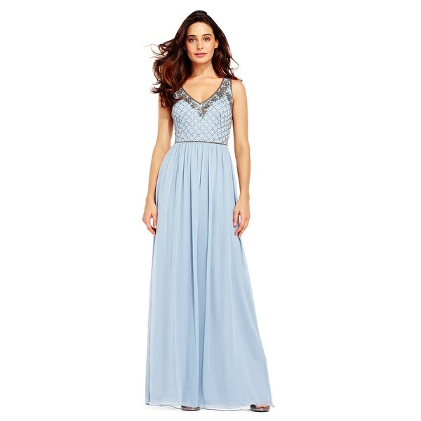 Shop Adrianna Papell Beaded Chiffon Gown with Floral Beaded Neckline ...