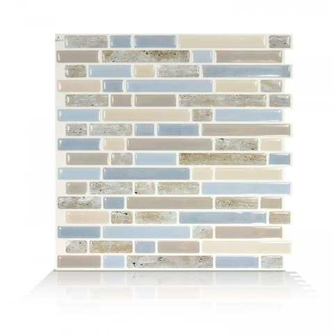 Smart Tiles Self Adhesive Wall Tiles - Bellagio Elana - 4 sheets of 10.06'' by 10'' Kitchen and Bathroom Stick on Tiles