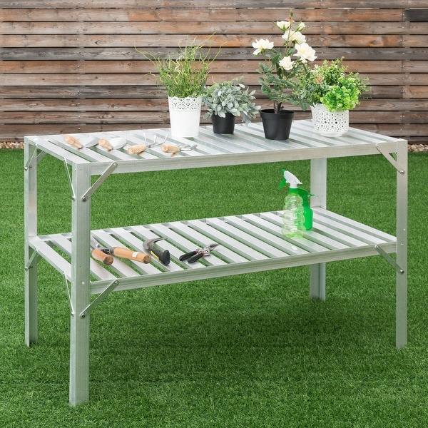 """Heavy Duty wooden 8ft potting table 8/' x 30/"""" Greenhouse staging"""