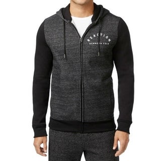 Kenneth Cole Reaction NEW Charcoal Black Mens L Marled Hooded Sweater