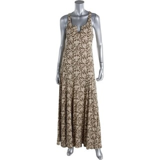 LRL Lauren Jeans Co. Womens Petites Printed Sleeveless Maxi Dress - pm