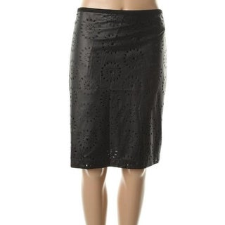 Ellen Tracy Womens Mixed Media Faux Leather Perforated Straight Skirt - 14