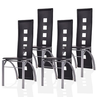 Costway Set of 4 Dining Chairs PU Leather Steel Frame High Back Home Furniture Black