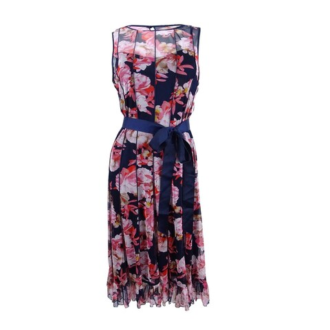 Jessica Howard Women's Pintucked Floral-Print Sash Dress - navy/multi