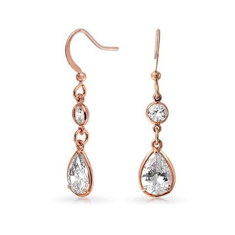 Drop Cubic Zirconia Bezel Teardrop Dangle Earrings Rose Gold Plated