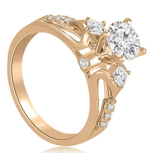 0.90 cttw. 14K Rose Gold Vintage Round And Princess Diamond Engagement Ring