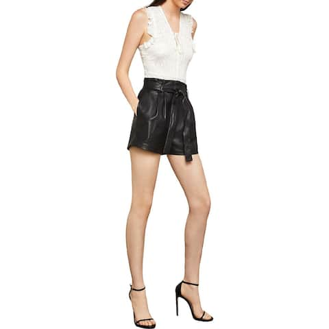 BCBG Max Azria Womens Dress Shorts Faux Leather Paper Bag Waist