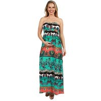 24Seven Comfort Apparel Strapless Maternity Maxi Dress