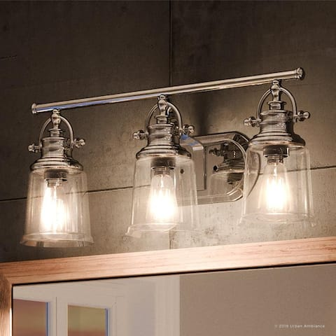 """Luxury Industrial Bathroom Vanity Light, 9.5""""H x 23""""W, with Vintage Style, Polished Chrome Finish by Urban Ambiance"""