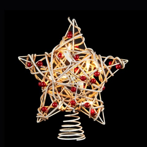 "11.5"" Lighted White Birch Berry Rattan Star Christmas Tree Topper - Clear Lights"