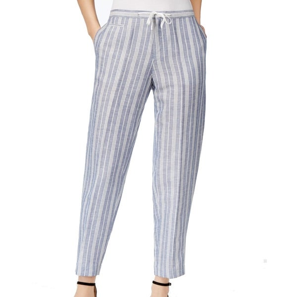 018041e3cdd Shop Anne Klein NEW Blue Women s Size 2X27 Striped Drawstring Linen Pants -  Free Shipping On Orders Over  45 - Overstock - 21464359