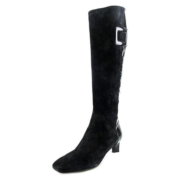 Roger Vivier Stiv Ale T.V. T.45 Women Square Toe Suede Black Knee High Boot
