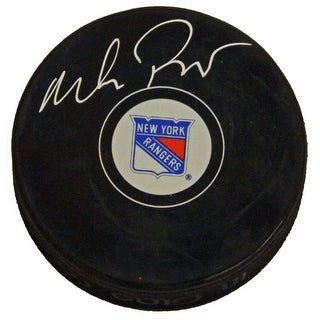 Mike Richter Signed NY Rangers Logo Hockey Puck