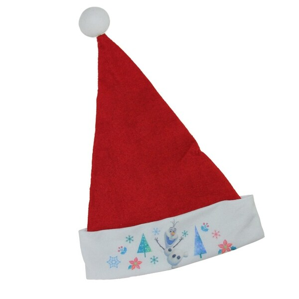 "17.5"" Red Disney Frozen Christmas Santa Hat with Olaf on White Trim"