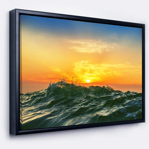 Designart 'Bright Sunlight and Glowing Waves' Beach Photo Framed Canvas Print
