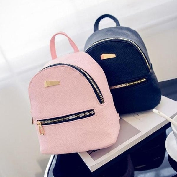 fa8bbe2935 Fashion Faux Leather Mini Backpack Girls Travel Handbag School Rucksack Bag