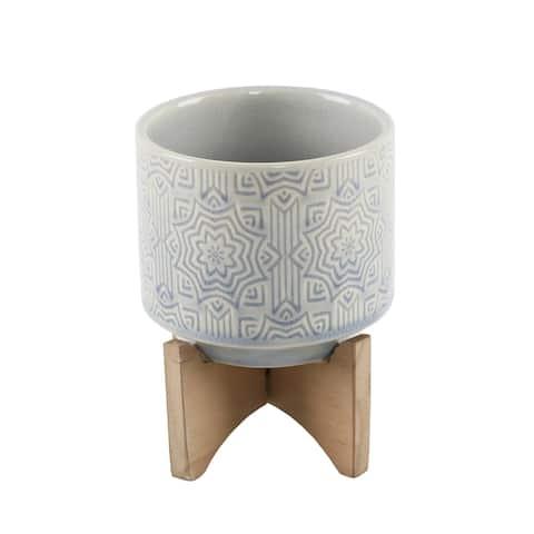 "Mid-Century 4.25"" Star Ceramic on Stand,Glass Blue"